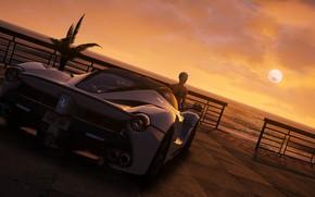 Картинка авто, девушка, рассвет, Grand Theft Auto V