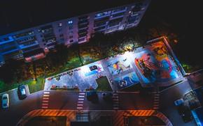 Картинка ночь, двор, детская площадка