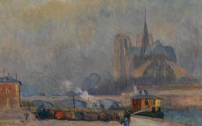 Обои картина, городской пейзаж, Альбер-Шарль Лебур, Собор Парижской Богоматери. Вид с Набережной Турне