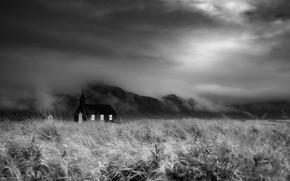 Картинка поле, туман, храм