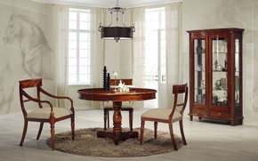 Картинка стол, мебель, стулья, интерьер, люстра, столовая