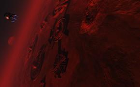 Картинка планета, сооружения, аппарат, Mars Base 2079