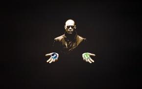 Картинка Человек, Черный фон, Matrix, Матрица, Steam, Морфеус, uTorrent, Выбор, Versus