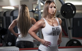 Картинка model, pose, mirror, fitness, gym
