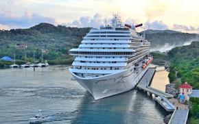 Картинка корабль, пристань, панорама, лайнер