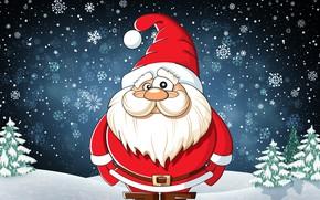 Картинка Зима, Взгляд, Снег, Усы, Новый Год, Рождество, Костюм, Снежинки, Фон, Санта, Борода, Праздник, Санта Клаус, …