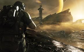 Картинка планета, GDB - CODInfinite Warfare, скалы, кольцо, сооружение