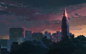 Картинка город, парк, башня, небоскребы, вечер, сигнальные огни, небо в облаках