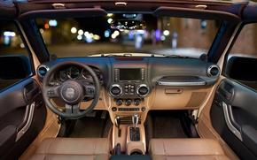Картинка руль, салон, приборная панель, Wrangler, Jeep