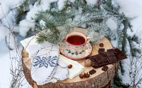 Картинка зима, снег, украшения, чай, игрушки, елка, шоколад, Новый Год, Рождество, чашка, happy, Christmas, vintage, winter, ...