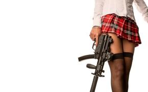 Картинка девушка, юбка, чулки, автомат, ножки