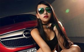 Картинка взгляд, Девушки, очки, Opel, азиатка, красивая девушка, красный авто