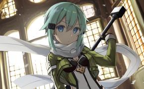 Картинка взгляд, аниме, арт, Мастера меча онлайн, Sword Art Online, Синон