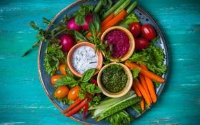 Картинка огурец, овощи, соус, редис