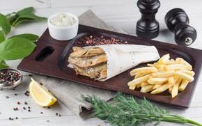 Картинка зелень, рыба, картофель фри
