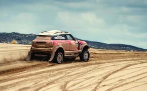 Картинка Песок, Авто, Mini, Спорт, Пустыня, Скорость, Гонка, Rally, Dakar, Дакар, Внедорожник, Ралли, X-Raid Team, MINI ...