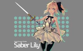Картинка девушка, арт, серый фон, сейбер, Fate / Grand Order