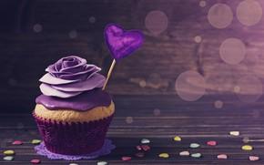 Картинка фон, роза, украшение, сердечко, крем, декор, valentine's day, кекс, Elena Schweitzer