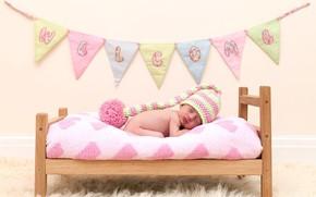 Картинка сон, девочка, малышка, шапочка, младенец, кроватка