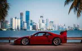 Картинка город, утро, Ferrari, F40, Florida, Маями