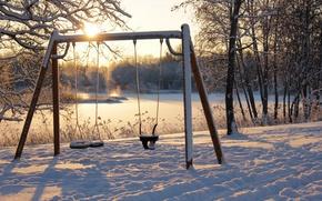 Обои зима, качели, снег, утро