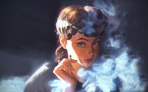 Картинка дым, портрет, аниме, актриса, сигарета, персонаж, Blade Runner, Бегущий по лезвию, Sean Young, Шон Янг, …