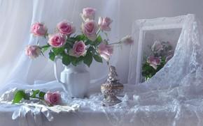 Картинка цветы, стиль, розы, букет, зеркало, перчатки, статуэтка, кружево