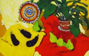 Картинка тарелка, баклажаны, натюрморт, груши, 2007, Петяев