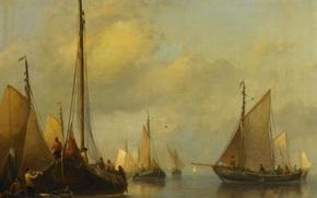 Картинка дерево, масло, картина, парус, Рыбацкие Лодки. Спокойное Море, Anthonie Waldorp