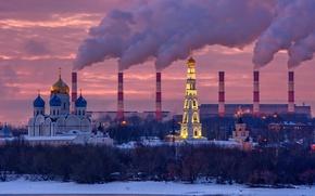 Картинка зима, закат, Москва, монастырь, Николо-Угрешский, ТЭЦ № 22 Мосэнерго
