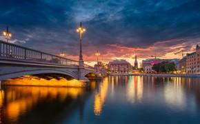 Картинка мост, река, здания, вечер, фонари, Стокгольм, Швеция, Sweden, Old Town, Stockholm, Старый город