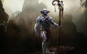 Обои череп, урод, посох, Alien Shaman, чудовище