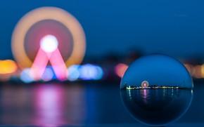 Картинка Blue, Lights, Evening, Ferris wheel, Blurring