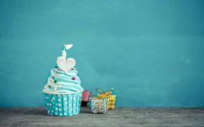 Картинка Свеча, Праздник, Подарок, Кекс, День рождение