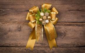 Картинка Новый Год, Рождество, бант, wood, merry christmas, decoration, xmas, fir tree