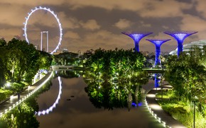 Картинка ночные огни, Сингапур, Singapore, night lights