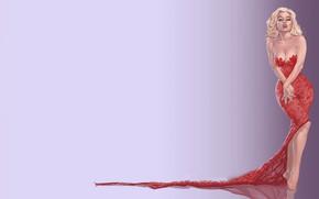 Картинка девушка, фон, красное платье