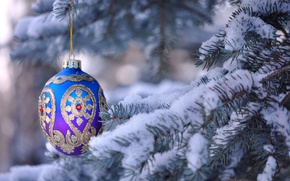 Картинка снег, праздник, игрушка, елка, Рождество, украшение