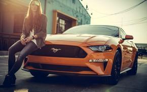 Обои mustang, jeans, redhead, orange, girl, ford mustang