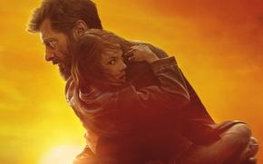 Обои небо, солнце, фон, фантастика, зарево, Росомаха, Логан, боевик, постер, Wolverine, Hugh Jackman, Logan, Хью Джекман, ...