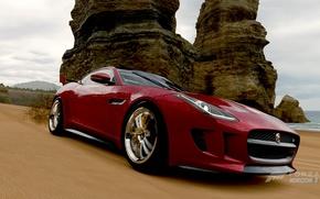 Картинка песок, машина, авто, пляж, океан, скалы, берег, ягуар, jaguar, games, horizon, forza