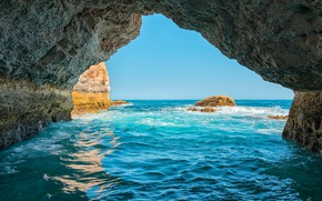 Картинка море, небо, солнце, камни, скалы, берег, горизонт, Португалия, Algarve