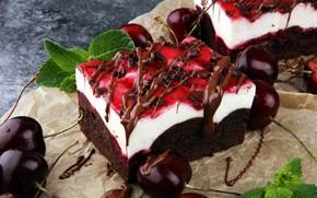 Картинка вишня, ягоды, шоколад, выпечка, Торт, Мята