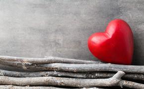 Картинка любовь, ветки, сердце, red, love, heart, wood, romantic