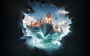 Обои корабли, Wargaming.net, World of Warships, Lesta Studio, пробоина