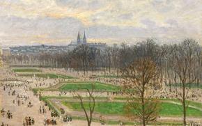Картинка пейзаж, город, парк, Париж, картина, Камиль Писсарро, Сады Тюильри Зимним Днем