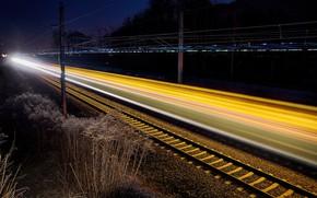 Картинка ночь, огни, железная дорога