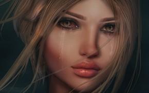 Картинка грусть, девушка, лицо, слезы