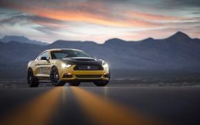 Обои дорога, небо, свет, закат, горы, фары, Mustang, Ford, вечер, Shelby Terlingua