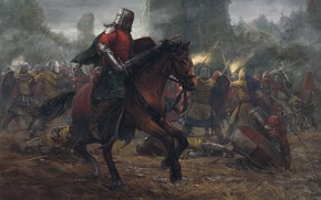 Обои лес, замок, лошадь, башня, бой, Битва, рыцари